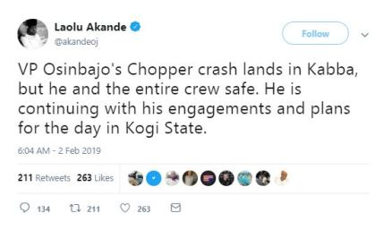 Osinbajo Escapes Death As His Chopper Crashes In Kabba