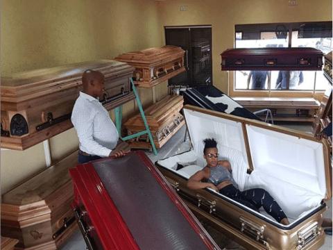 South African 'Pantless Dancer' Zodwa Wabantu Pose Inside A Coffin
