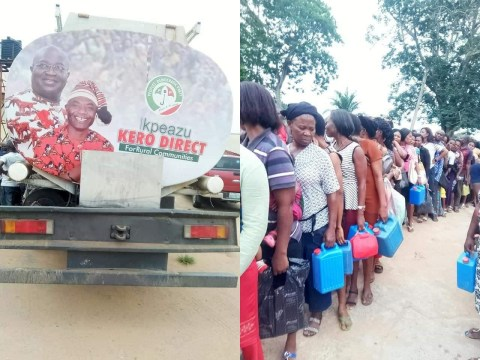 Governorship Candidate Gives Out Kerosene As Abia Residents File Out To Collect