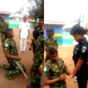 Soldier Proposes To His Police Girlfriend In Enugu