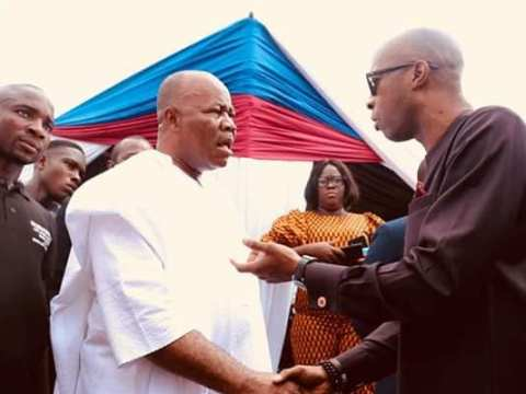 Akwa Ibom Speaker Onofiok Luke & Godswill Akpabio Exchange Greetings At A Function
