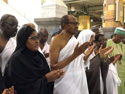 Buhari And Wife Perform Umrah (Lesser Hajj) At The Grand Mosque In Makkah