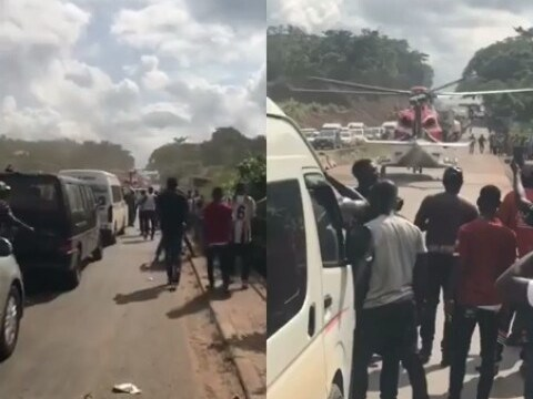 Watch The Moment Helicopter Picked Up A Billionaire Stuck In Traffic On The Lagos Benin Expressway