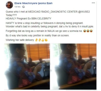 Pregnant Tboss Spotted At A Medical Diagnostic Center In Abuja