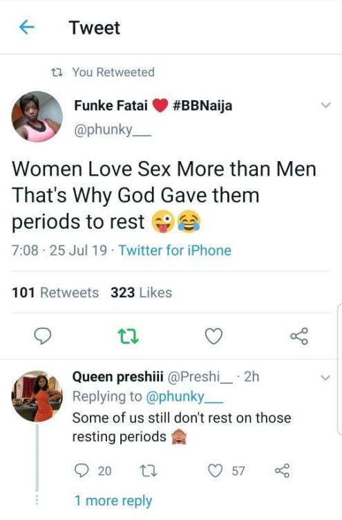 Women Love Sex More Than Men That's Why God Gave Them Menses To Rest – Lady On Twitter Reveals