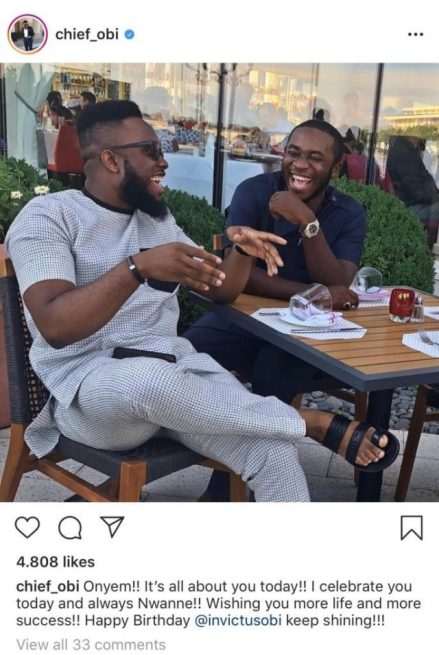 Meet The Only Celebrity Who Still Have Invictus Obi's Photo On His Instagram Page