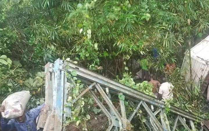See Photos As Bridge Collapses In Akwa Ibom