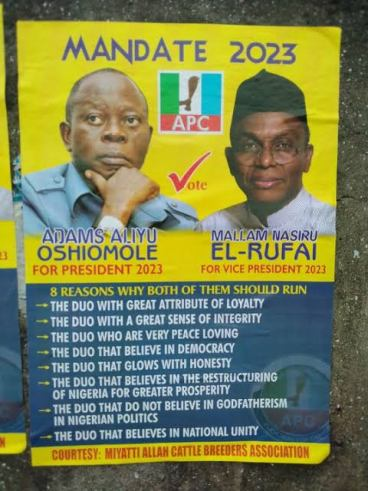 2023 Presidential Posters Of Oshiomhole, Tinubu And El-rufai Divides Nigerians