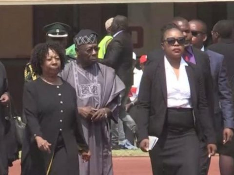 Ex-Zimbabwean First Lady, Grace Mugabe Cries To Obasanjo At Funeral Service