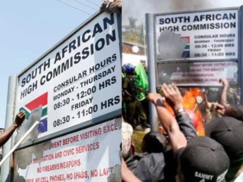 Zambian Students Attack South Africa Embassy, Burn Down Its Signpost Over Xenophobia