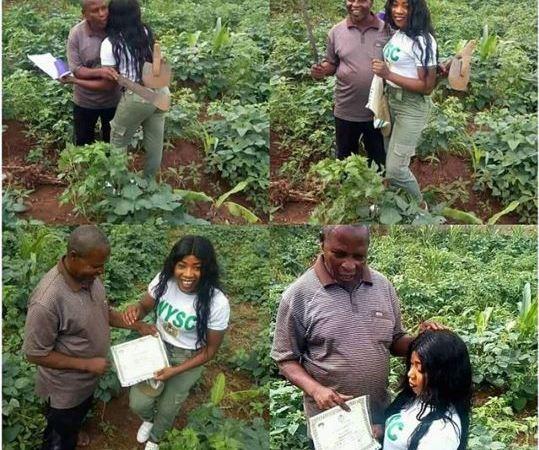 Beautiful Nigerian Graduate Celebrates Her Poor Father In The Farm