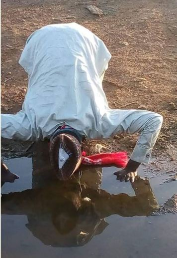 Man Drinks Dirty Water To Celebrate Yahaya Bello's Victory