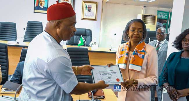 INEC Issues Hope Uzodinma Certificate Of Return As Imo Governor-elect