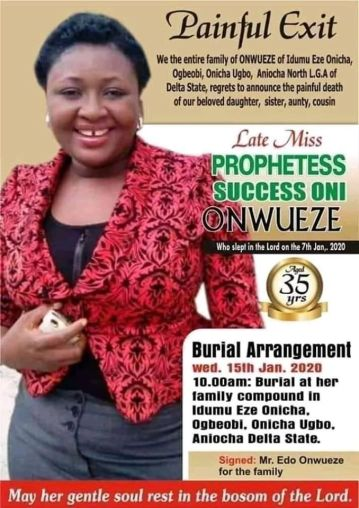 Obituary Of Prophetess Success Oni Onwaeze Who Was Poisoned By Her Pastors In Order To Take Over Her Church