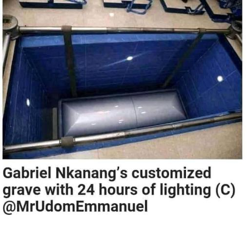 Akwa Ibom Governor, Udom Emmanuel Builds Customized Grave With Light For His Father