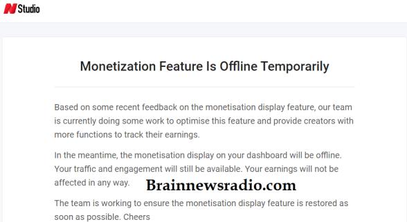 Opera News Hub Disabled Their Monetization Feature