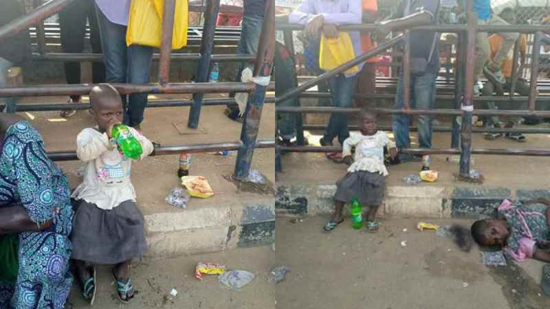 Little Girl Stranded After Her Mother Slumped And Died At A Bus Stop In Lagos
