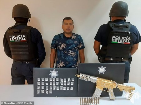 Mexican Police Seize Personalized Gold-plated AR-15 Assault Rifle, Arrest Leader Of A Deadly Gang