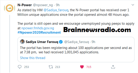N-Power Portal Receives Over 1 Million Unique Applications In 48 Hours
