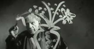 Mesmerizing Footage of Picasso Painting on Glass