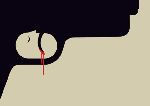 idea 19 visual puns gun crime 2010 illustrated by noma bar is a commentary on the tragic toll of gun related violence in the uk - Graphic Design Ideas