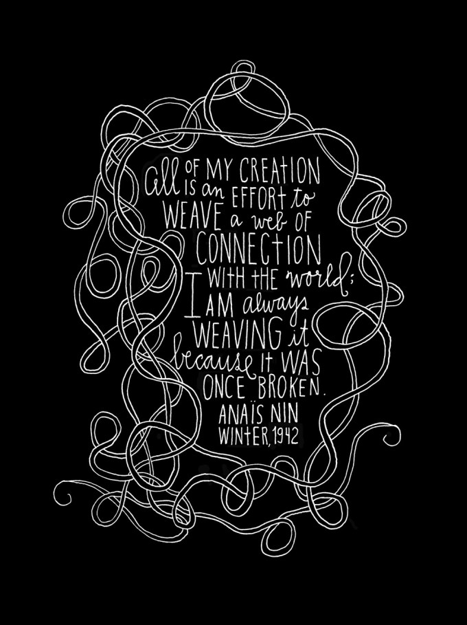 Anaïs Nin on Life, Hand-Lettered by Artist Lisa Congdon ...