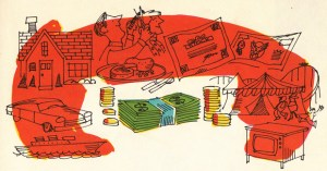 How People Earn and Use Money: Vibrant Vintage Illustrations from 1968