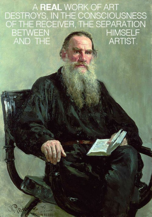 Leo Tolstoy on Emotional Infectiousness and What Separates Good Art from the Bad – @Brain Pickings Artes & contextos tolstoyartquote