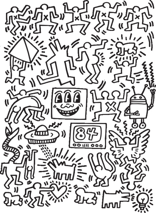 a quirky coloring book featuring keith haring shepard fairey ryan mcguinness brian rea and other contemporary art icons - Outside The Lines Coloring Book
