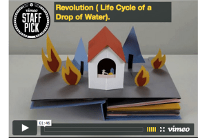 The Life-Cycle of a Single Water Drop, in a Pop-Up Book Animated in Stop-Motion
