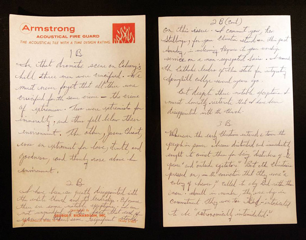 dr kings handwritten notes for the letter the king center archive