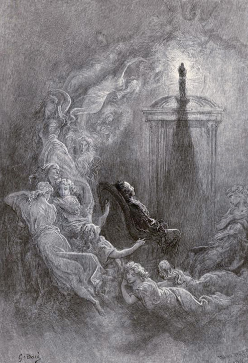 But the Raven sitting lonely on the placid bust spoke only. That one word as if his soul in that one word he did outpour. & Gustave Doré\u0027s Hauntingly Beautiful 1883 Illustrations for Edgar ... Pezcame.Com