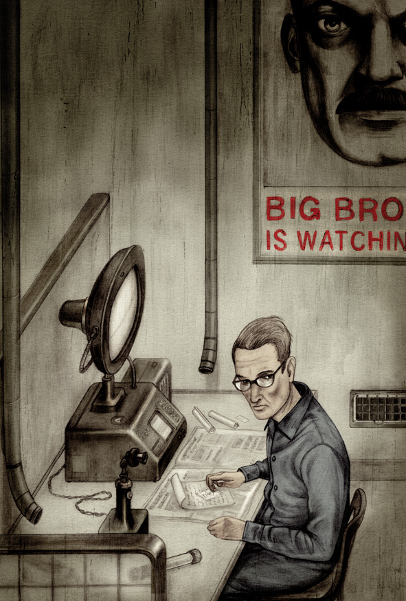 Art by Jonathan Burton for a Folio Society edition of George Orwell's Nineteen Eighty-Four