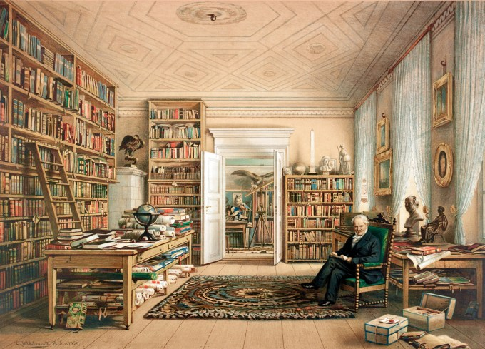 Alexander von Humboldt in his home library at at 67 Oranienburger Strasse, Berlin. Chromolithograph copy of watercolor drawing by Eduard Hildebrant, 1856.