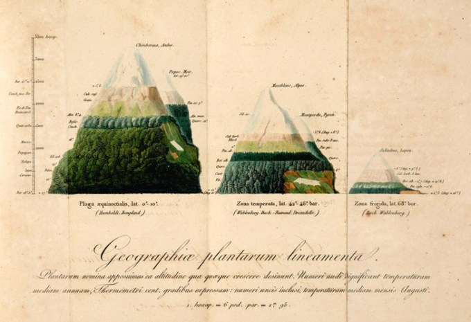 Humboldt's 1806 drawing of the geographic distribution of plants based on mountain height and air temperature