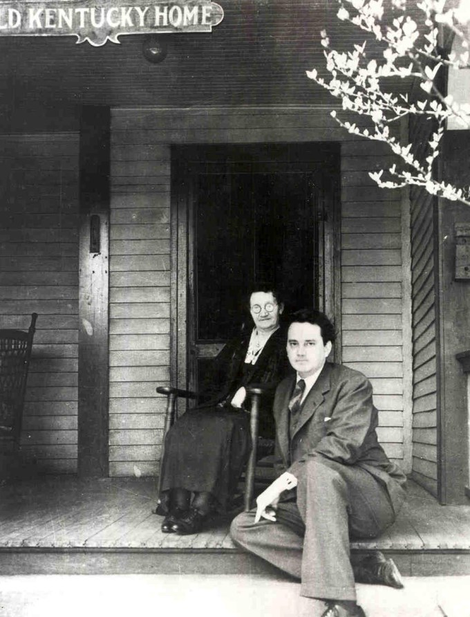 Thomas Wolfe and his mother sitting on the porch of Old Kentucky Home, the boarding house Julia Wolfe operated in Asheville, North Carolina