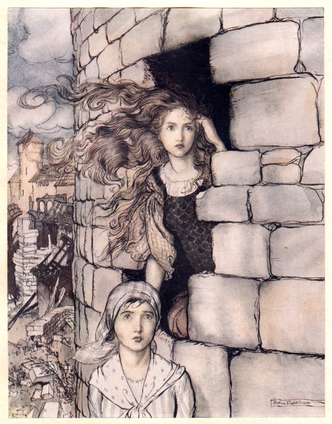 """Spindle, Shuttle, and Needle: """"The waiting maid sprang down first and Maid Maleen followed."""""""