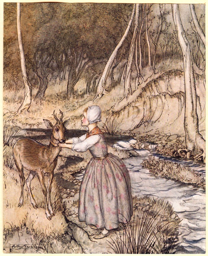 "Frontispiece: ""She took off her golden garter and put it round the roe-buck's neck."""