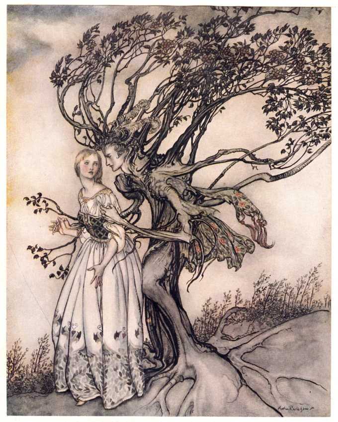 "The Old Woman in the Wood: ""Suddenly the branches twined round her and turned into two arms."""