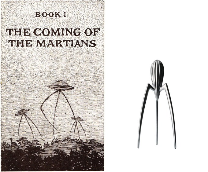 Left: One of Edward Gorey's 1960 illustrations for The War of the Worlds by H.G. Wells (book, unimprovable); right: Philippe Starck lemon squeezer (object, unimproved)