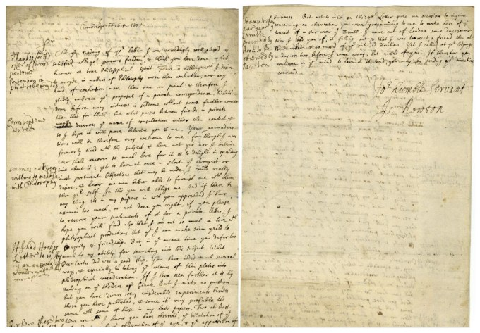 Isaac Newton's famous letter to Robert Hooke, February 5, 1675 (Historical Society of Pennsylvania)