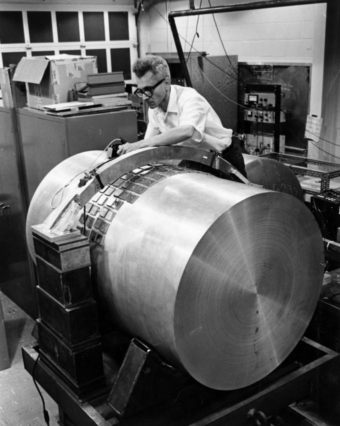 Joseph Weber with his cylinder