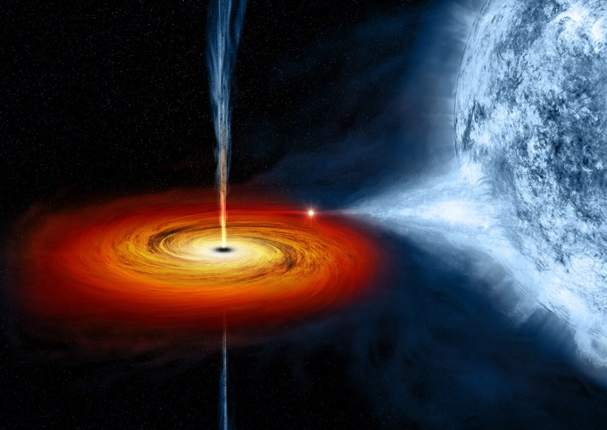 An artist's rendering of a black hole named Cygnus X-1, which formed when a large star caved in and began pulling matter from blue star beside it. (Image: NASA/CXC/M.Weiss)