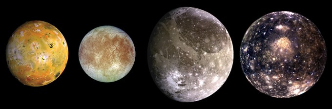 Jupiter's Galilean moons, in ascending order of distance from Earth: Io, Europa, Ganymede, Callisto. (Composite image courtesy of NASA/JPL/DLR)