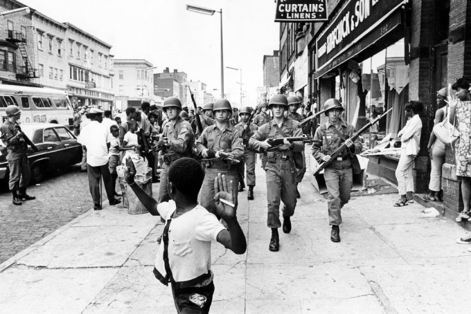 The National Guard in the streets of Newark, July 1967 (Photograph: Don Hogan Charles / The New York Times)