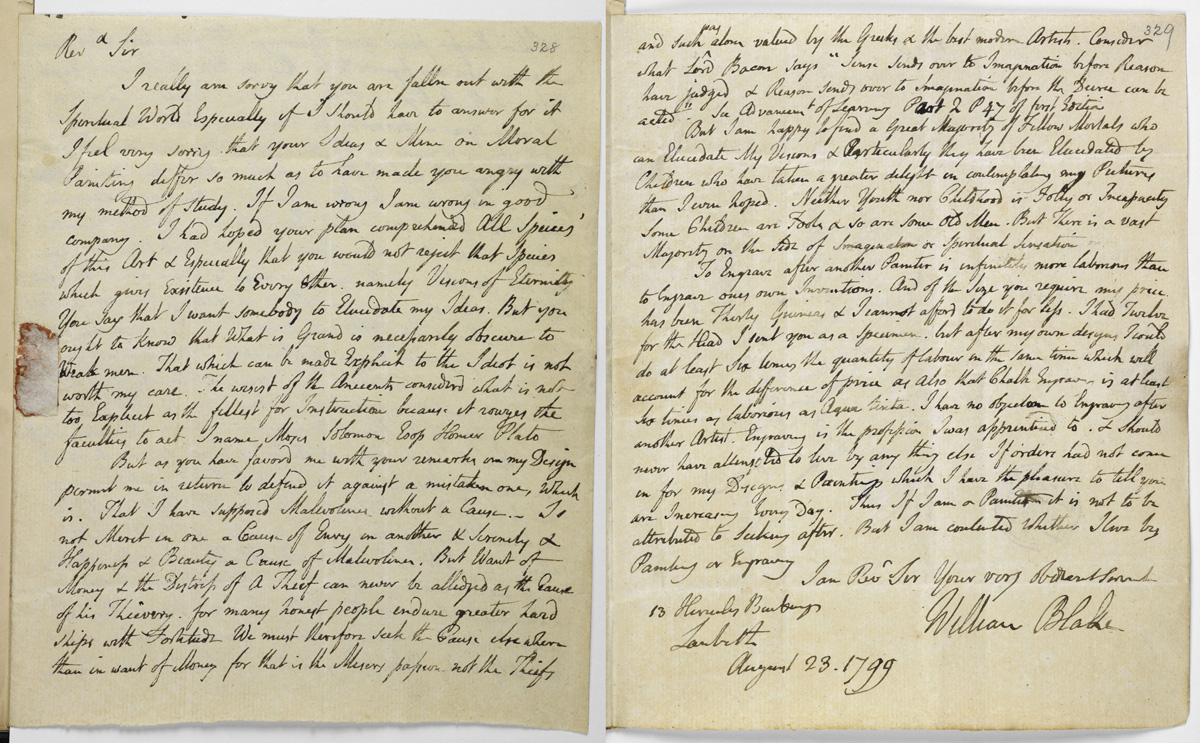 First and last pages of Blake's letter to Trusler, August 23, 1777. (Images: British Library)
