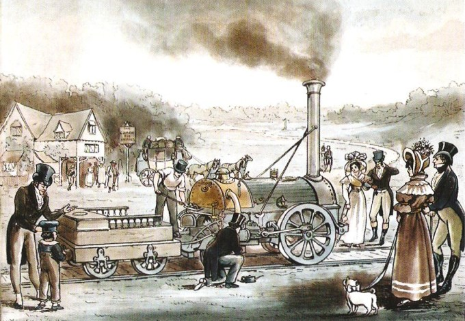 1894 color engraving titled Locomotive Engine, 'The Rocket', 1830, depicting the opening of Liverpool and Manchester Railway