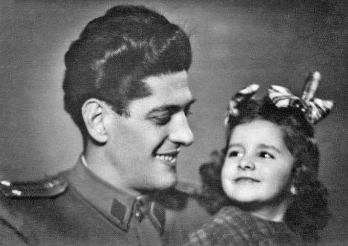 Marina, age 4, with her father, Vojin