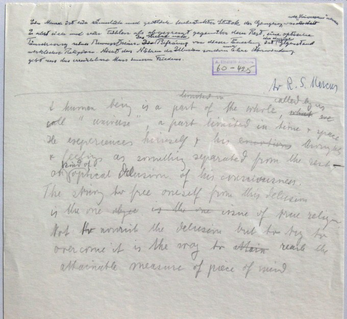 Draft of Einstein's letter to Marcus (via On Being)