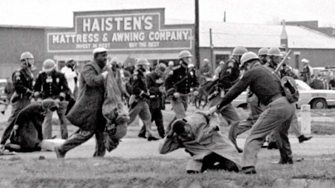 John Lewis (front, right) being beaten by police, Selma, Alabama, 1965.